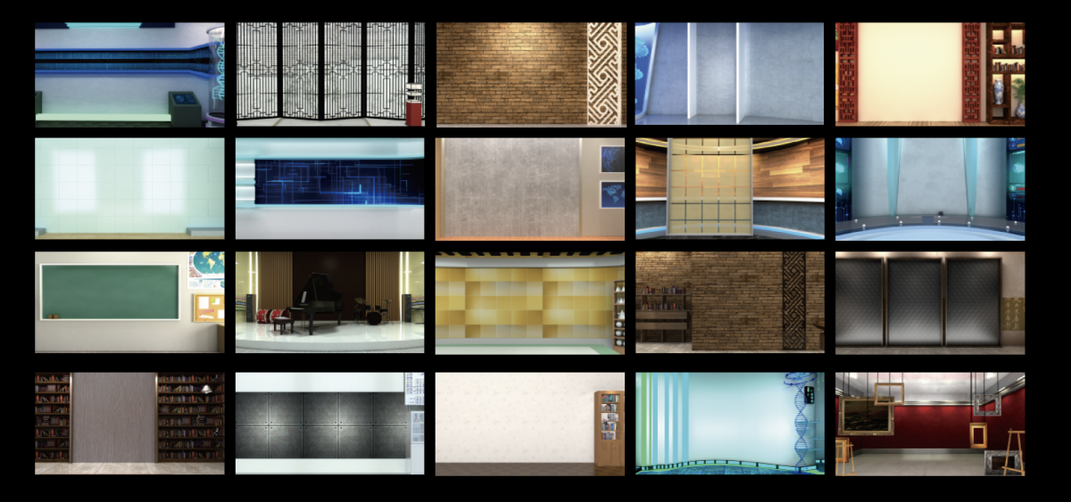Free download for TVS-2000A virtual set, template and Decoration 3D items.
