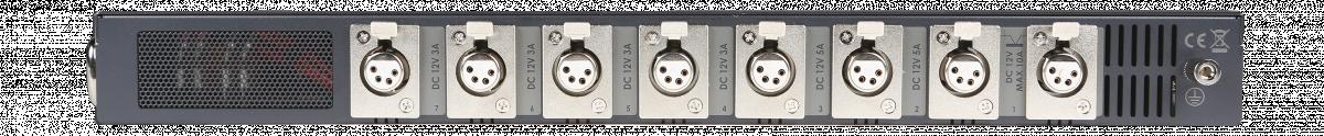 Output connections: 4 x 3A + 2 x 5A + 2 x 10A 12V XLR DC
