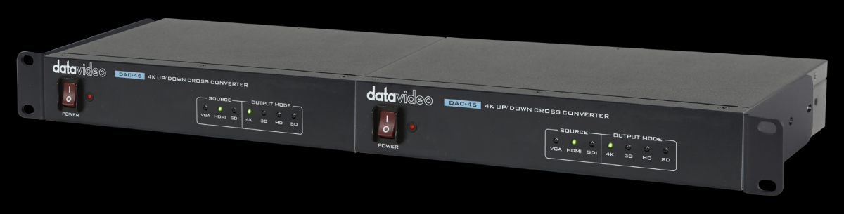 """Available RMK-1 rack allows two DAC-45 to be racketed in a 19"""" rack."""