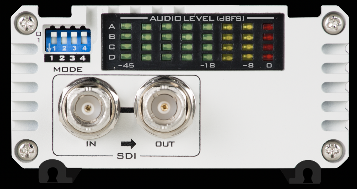 SMPTE and EBU Audio level switchable and Control via DIP Switches