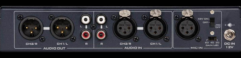 Supports XLR mic in and +48V phantom power and Built-in balanced or unbalanced audio conversion