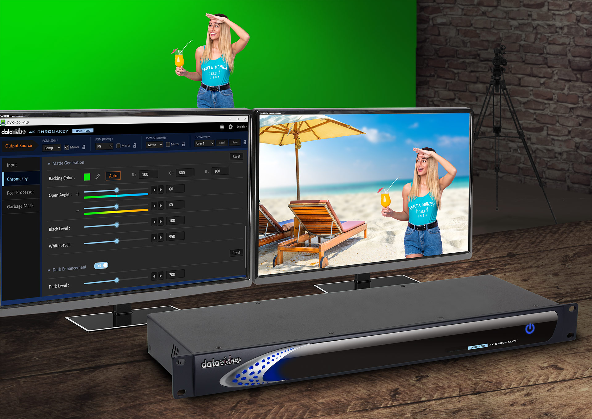 Auto Chromakey by Pressing One Button without Complicated Adjusting.
