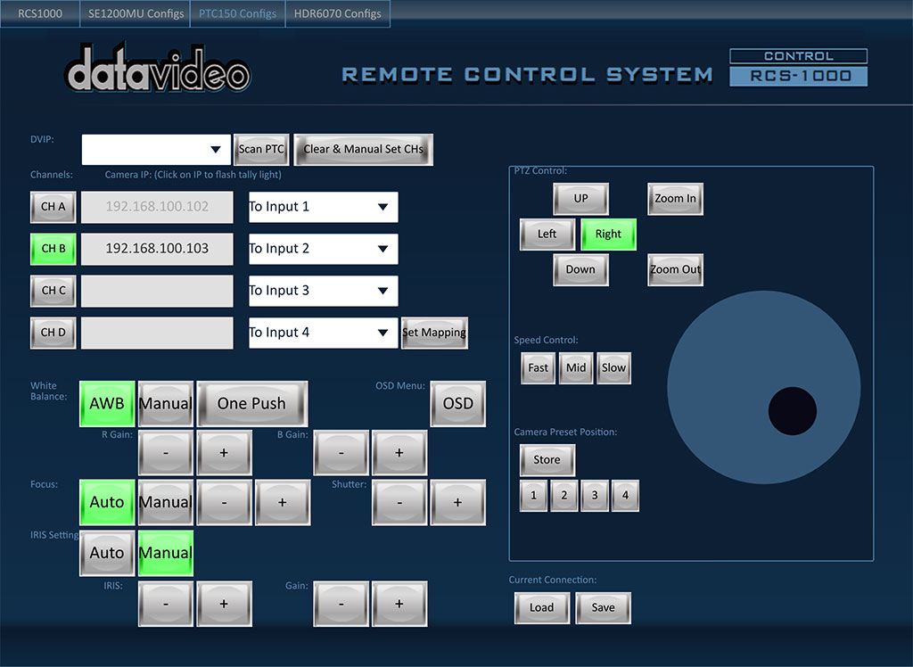 Controls up to 4 PTC-150(T) cameras with presets for each camera